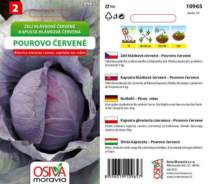 Osiva Moravia s.r.o. Neředín Hlávkové zelí POUROVO ČERVENÉ